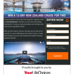 Win a 13D New Zealand Cruise for 2 Worth $5,278 from Permitz Group