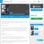 [PC] Monster Hunter: World US $45.91 (AU $61.84) with 5% off Code @ GamesDeal