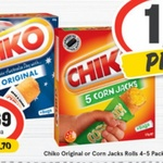 ½ Price Chiko Rolls 4PK or Corn Jacks 5PK $2.69 @ Supa IGA/Drakes
