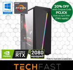 "Ryzen 5 2600 / RTX 2080 Gaming PC Bundle with 24"" Monitor and KBM: $1449 Delivered (Intel i5 9400 $1499) + More @ TechFast eBay"
