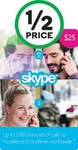 50% off Skype Gift Cards @ Woolworths