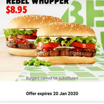 1x Rebel Whopper Burger (Plant Based) & 1x Whopper Beef Burger $8.95 @ Hungry Jack's (Mobile App)