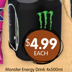[WA] 4x 500ml Monster Energy $4.99 @ Spudshed