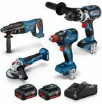 Bosch 18V Brushless 4pc Kit (Angle Grinder, Rotary Hammer, Driver/Wrench, Combi Drill + 2x 6.0Ah) $699 Delivered @ Total Tools