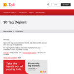 [NSW] $0 Tag Deposit with E-Toll