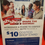 $10 Costco Shop Card for Referrer and Referee with $60/Year Costco Membership Purchase