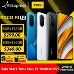 "POCO F3 5G 6.67"" 120Hz AMOLED, SD870, 6GB + 128GB US$328.90 (~AU$434.84) Delivered @ POCO Store AliExpress"