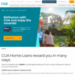 CUA Home Loan Refinance Promo 1.79% Fixed 2 Years + $0 Annual Fee for Life + $2,000 Pre-Paid Mastercard for Loans over $500k