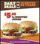 Daily Deals: 2x Whopper Junior $5.50 @ Hungry Jack's via App