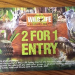 2 for 1 Entry Wildlife Sydney Zoo Voucher with Purchase of $10+ at Gloria Jeans Miranda