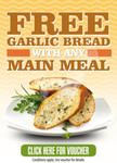 VOUCHER: Free Garlic Bread with Purchase of Main Meal at 192 Venues in QLD, VIC, SA, TAS