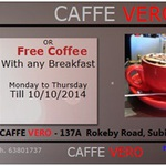 Free Coffee with Any Breakfast or Buy One Coffee and Get One Coffee Free @ Caffe Vero Subiaco WA