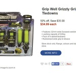 Grizzly Grip Ratchet Tie Downs 4pack - $34.99 @ BCF