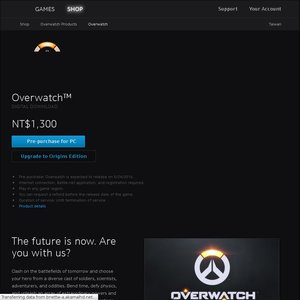 PC] Overwatch - Standard Edition NT $1300 (~ $55 AUD) from