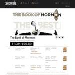 Tickets to Book of Mormon - 02 March - 16 April for ~$66 via Showbiz (Melbourne)