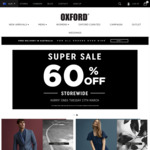 Oxford 60% off Storewide Online and Instore