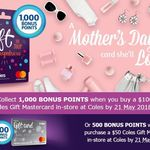 Coles - Flybuys - 1,000 BONUS POINTS When You Purchase a $100 Coles Gift Mastercard or 500 BONUS POINTS for $50 Card