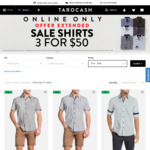 Tarocash Online Shirt Sale, 3 for $50, Free C&C or $85 Spend or $10 Postage