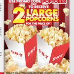 2 for 1 Large Popcorns $7.50 @ Dendy Cinemas (Club Dendy Membership Required)