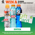 Win 1 of 28 BP Gift Cards Worth $1000 from Gatorade [Purchase Gatorade from BP]