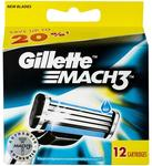 50% off Gillette Mach3 Razor Blade Refill 12 Pack $19.69 @ Chemist Warehouse