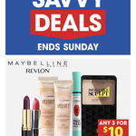 Maybelline by Revlon Makeup 3 for $10, Cadbury Boost Nuts 54g 3 for $1 @ The Reject Shop