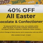 [NSW, VIC] Minimum 40% off All Easter Themed Items and Confectionary in-Store @ Selected BIG W