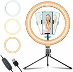 "Apexel 10"" Selfie LED Ring Light with Adjustable Tripod Stand $36.78 Delivered (20% off) @ Aipai Optic via Amazon"