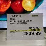 Sony KD75X9000H 4K HDR UHD LED TV for $2839.99 (In-Store Only) @ Costco (Membership Required)