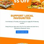 $5 off Each Day (Monday-Thursday, Delivered by Restaurant Venues Only, Min Spend $25) @ Menulog