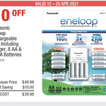 Eneloop Rechargeable Pack Inc Charger, 8 AA & 4 AAA $39.98 @ Costco (Membership Required)