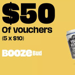 Boozebud: 5 × $10 Vouchers ($100 Min Spend per Voucher; New and Existing Users) $3 @ Groupon