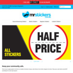 50% off All Stickers (e.g. 260mm Was $12 Now $6) + Delivery ($0 with $100 Order) @ MrStickers