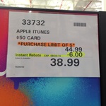 Apple iTunes $50 Gift Cards for $38.99 at Costco (Membership Req'd)