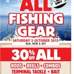 Anaconda - 30% off All Fishing Gear One Day, 3 October (QLD/NSW/ACT)