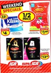 IGA Weekend Spec Allens Lollies $1.49, Supercoat Dog Food 8kg $13.99, Kleenex Toilet Tissue 12 Pk $4, Strawb Punnets 2 for $6