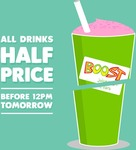 50% off All Boost Juice Drinks on Monday 20/3 (before 12pm)