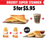 [QLD] Hungry Jack's Breakfast Deal - Cheese Toastie, 2 Hash Browns, Small Coffee & 4 Pikelets (with Maple Syrup) for $5.95