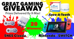 Win a Nintendo Switch Console, a Super NES Classic Mini, or 1 of 18 Save-A-Tooth Tooth Preserving Systems from Save-A-Tooth
