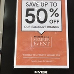 Myer Member Event 2 Day Sale 40-50% off Many Brands