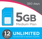 Lebara Medium Plan 360 Days – 5GB Data/Month + Unlimited Oz Talk/Text & Unlimited 12 Countries - $199