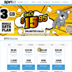Spintel Mobile - Unlimited Talk and Text + 3/6/10 GB Data for $15.95/$23.95/$25.95 Per Month