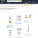 50% off Any 2+ Select Dove Products (e.g. 2 Dove Roll On Deodorant $1.95) + Delivery (Free with Prime/$49 Spend)  @ Amazon AU