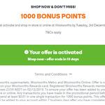 1000 Bonus Points (Worth $5) at Woolworths Rewards