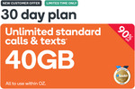 Prepaid Voucher Code: EXTRA LARGE (30 Days | 40GB) - $4.90 (Was $49.90) @ Kogan Mobile (New Customers Only)