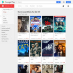 Recently Released Movie Rentals Including 4K - $2.99 @ Google Play Movies