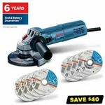 Bosch Corded 880W 125mm Angle Grinder (Inc 8 Discs, Work Groves, Safety Glasses, Protection Shield) $99 (Was $139) @ Total Tools