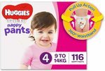 Huggies Ultra Dry Nappy Pants, Girls, Size 4 Toddler (9-14kg), 116 Count $34 + Delivery ($0 with Prime/ $39 Spend) @ Amazon AU