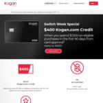 Kogan Money Black Credit Card: $400 Kogan Credit ($1,500 Spend in 90 Days*), 0% Balance Transfer for 1 Year, $0 Annual Fee