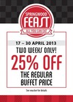 VOUCHER: 25% off The Regular Buffet Price at Springwood Hotel, QLD